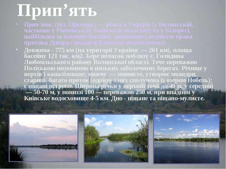 Прип'ять Прип'ять (біл. Прыпяць) — річка в Україні (у Волинській, частково у...