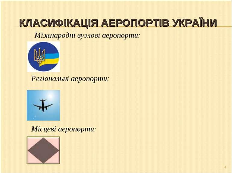 КЛАСИФІКАЦІЯ АЕРОПОРТІВ УКРАЇНИ * Міжнародні вузлові аеропорти: Регіональні а...