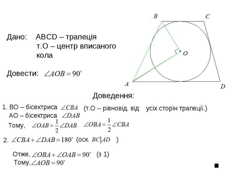 Доведення: Дано: ABCD – трапеція т.О – центр вписаного кола Довести: 1. ВО – ...