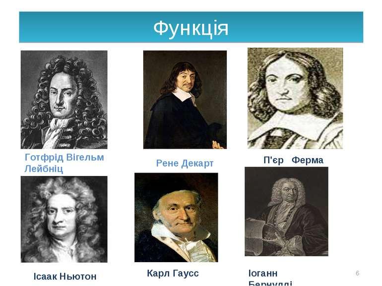 Функція * Готфрід Вігельм Лейбніц Рене Декарт П'єр Ферма Ісаак Ньютон Карл Га...