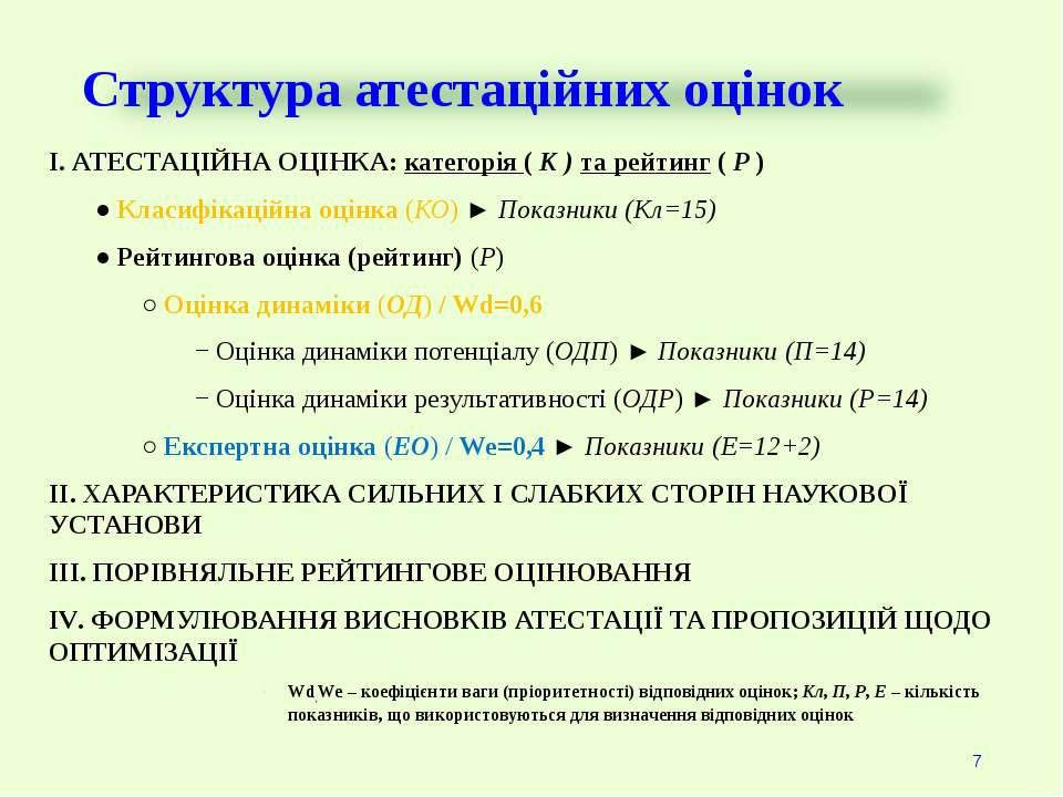 Структура атестаційних оцінок І. АТЕСТАЦІЙНА ОЦІНКА: категорія ( К ) та рейти...