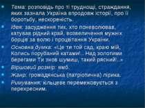 Тема: розповідь про ті труднощі, страждання, яких зазнала Україна впродовж іс...