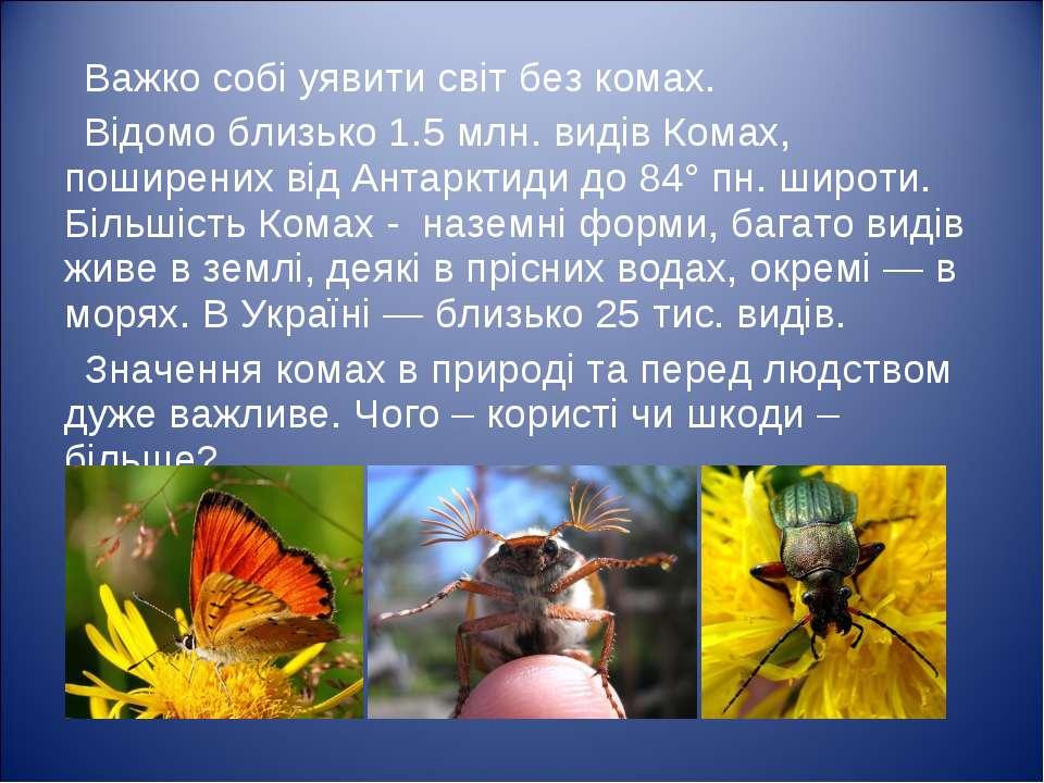 Важко собі уявити світ без комах. Відомо близько 1.5млн. видів Комах, пошире...