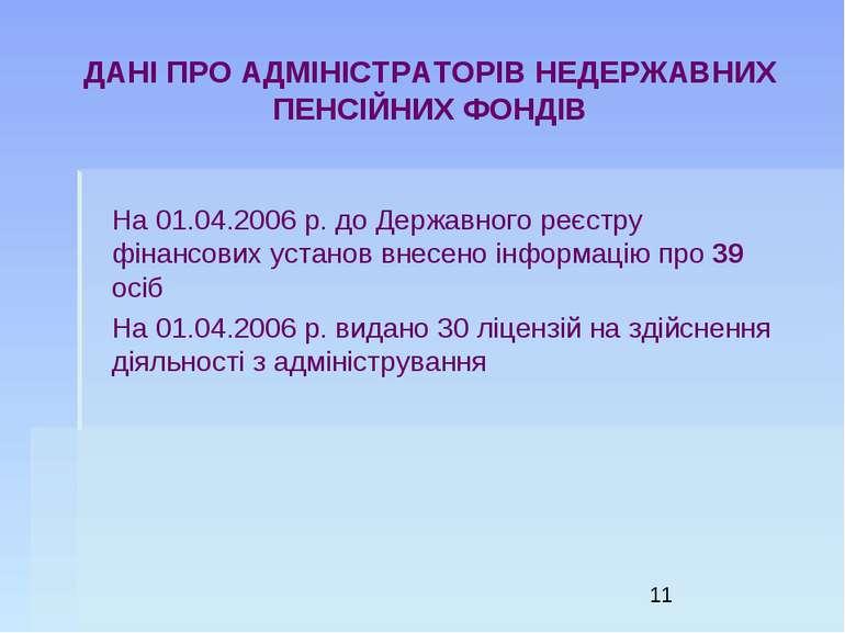 ДАНІ ПРО АДМІНІСТРАТОРІВ НЕДЕРЖАВНИХ ПЕНСІЙНИХ ФОНДІВ На 01.04.2006 р. до Дер...
