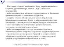 Показники валового зовнішнього боргу України включають: • прямий державний бо...