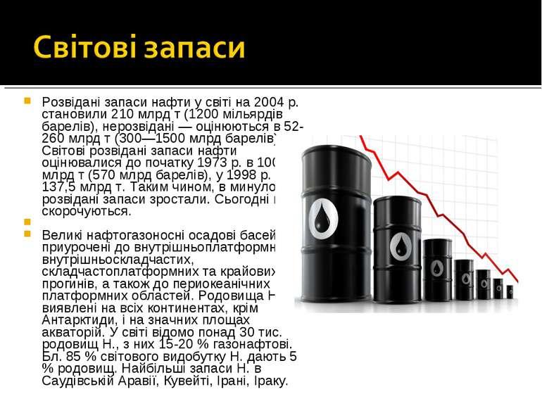 Розвідані запаси нафти у світі на 2004 р. становили 210 млрд т (1200 мільярді...