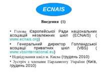 Введення (1) Голова Європейської Ради національних асоціацій незалежних шкіл ...