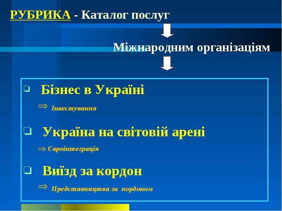 РУБРИКА - Каталог послуг Міжнародним організаціям Бізнес в Україні Інвестуван...