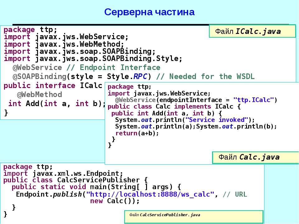 Серверна частина package ttp; import javax.jws.WebService; import javax.jws.W...
