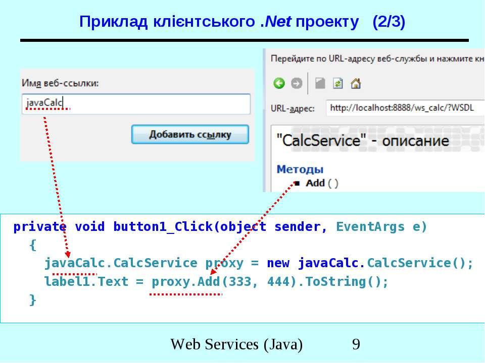 Приклад клієнтського .Net проекту (2/3) private void button1_Click(object sen...