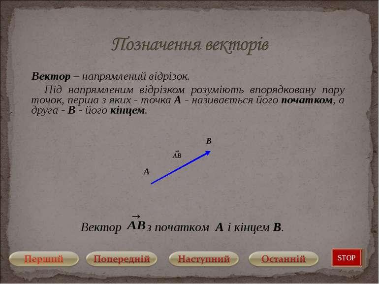 Вектор – напрямлений відрізок. Під напрямленим відрізком розуміють впорядкова...