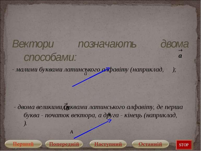 Вектори позначають двома способами: - малими буквами латинського алфавіту (на...