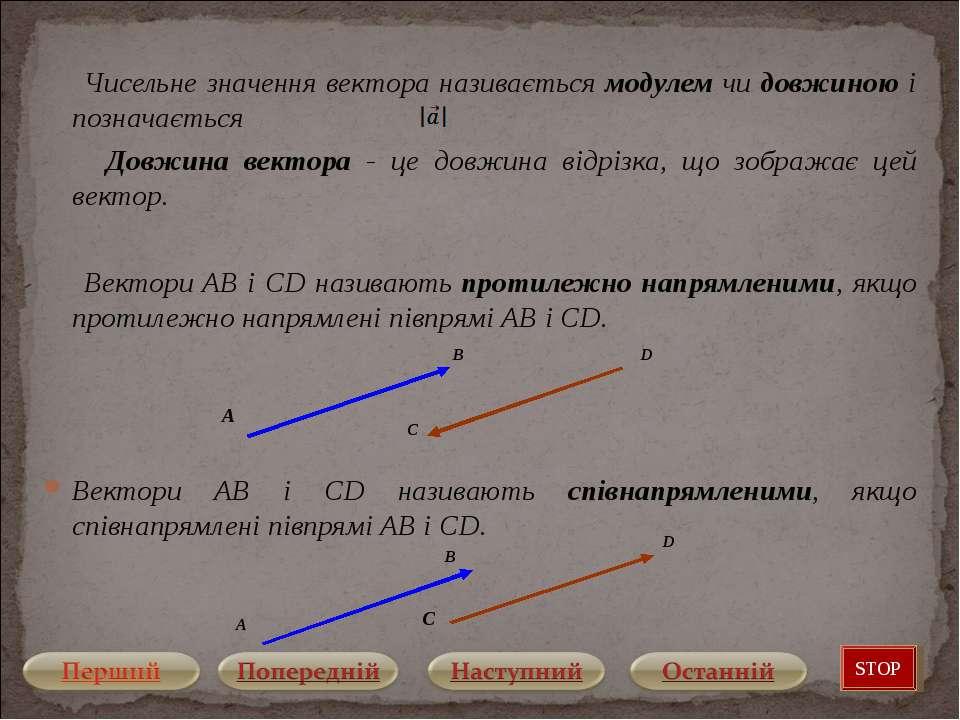 Чисельне значення вектора називається модулем чи довжиною і позначається Довж...