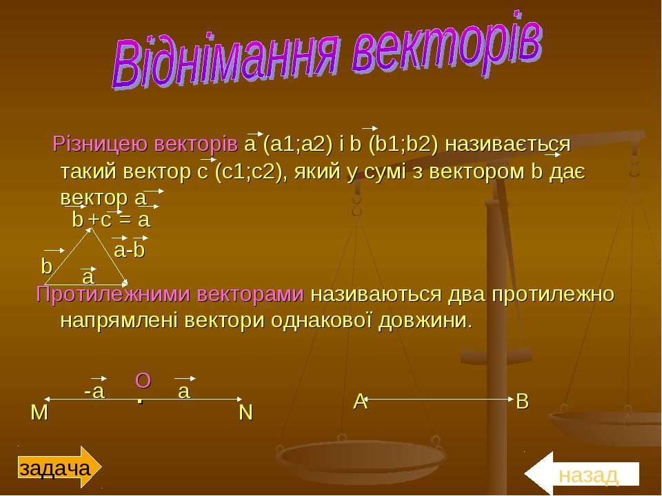 Різницею векторів a (a1;а2) і b (b1;b2) називається такий вектор с (с1;с2), я...