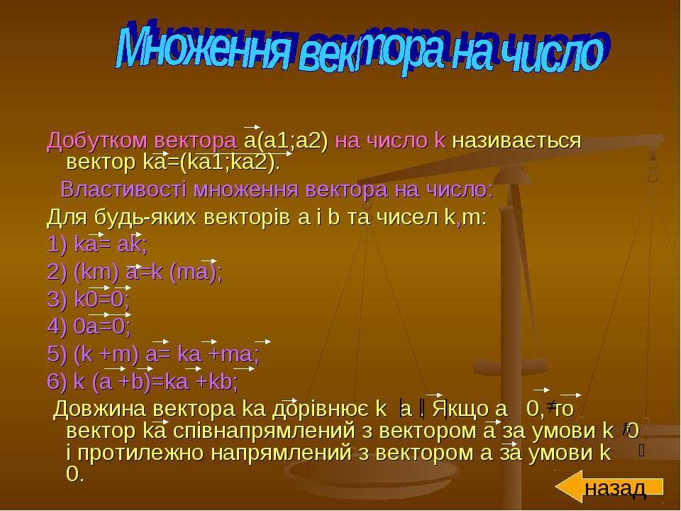 Добутком вектора a(a1;а2) на число k називається вектор ka=(ka1;ka2). Властив...
