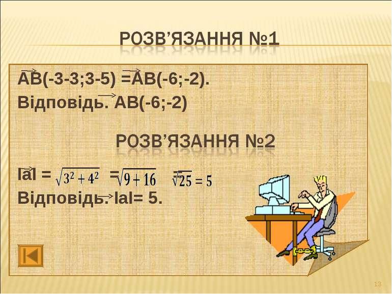 АВ(-3-3;3-5) =АВ(-6;-2). Відповідь. АВ(-6;-2) ІаІ = = = Відповідь. ІаІ= 5. *