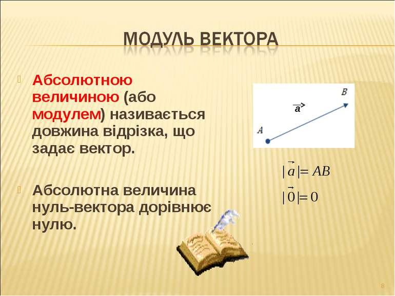 Абсолютною величиною (або модулем) називається довжина відрізка, що задає век...