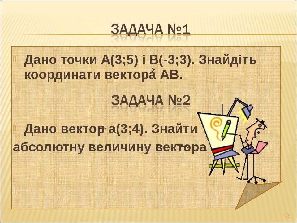 Дано точки А(3;5) і В(-3;3). Знайдіть координати вектора АВ. Дано вектор а(3;...