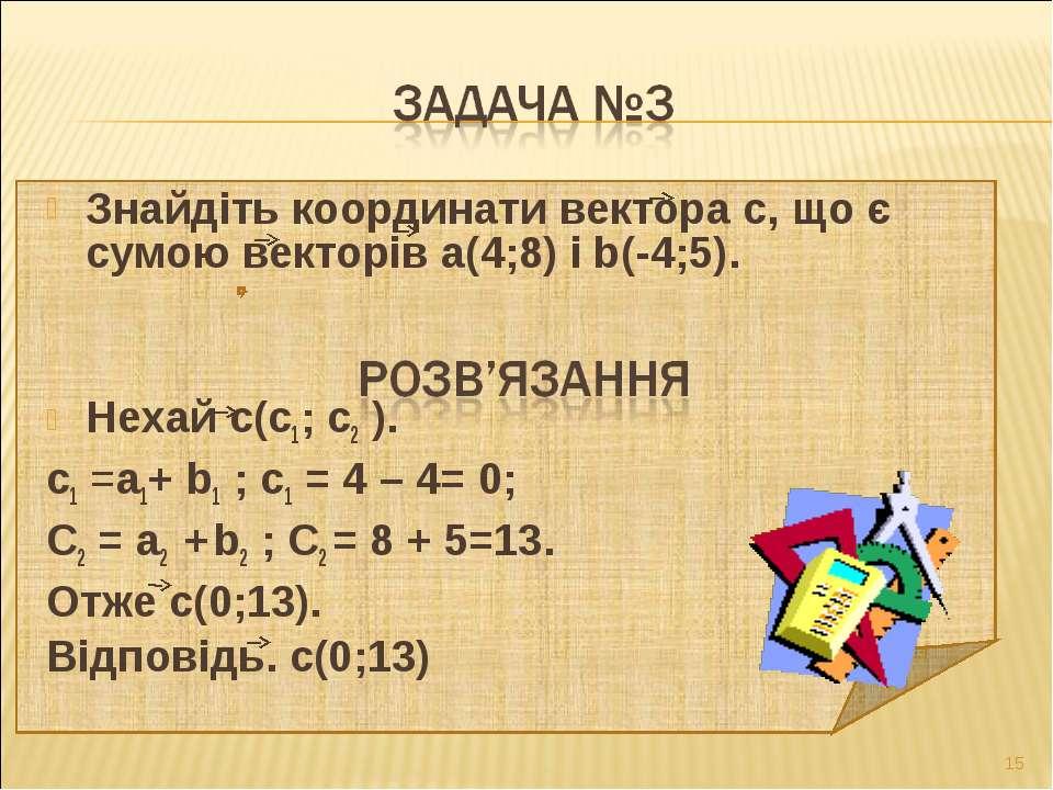 Знайдіть координати вектора с, що є сумою векторів а(4;8) і b(-4;5). Нехай с(...