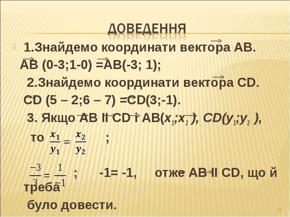 1.Знайдемо координати вектора АВ. АВ (0-3;1-0) =АВ(-3; 1); 2.Знайдемо координ...