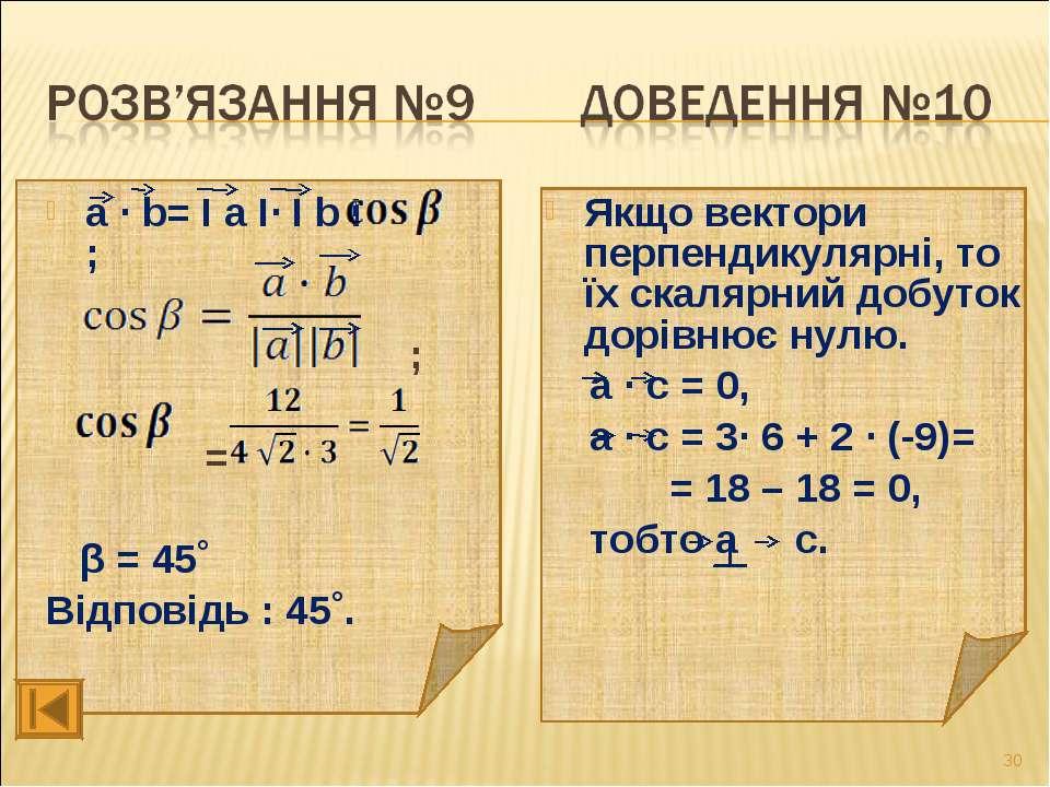 а ∙ b= І а І∙ І b І∙ ; ; = β = 45˚ Відповідь : 45˚. Якщо вектори перпендикуля...