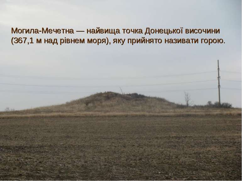 Могила-Мечетна— найвища точка Донецької височини (367,1 м над рівнем моря), ...