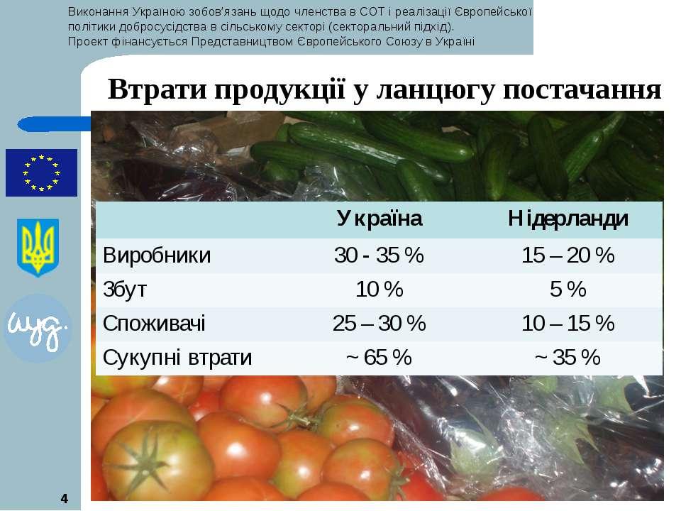 * * Втрати продукції у ланцюгу постачання Україна Нідерланди Виробники 30 - 3...