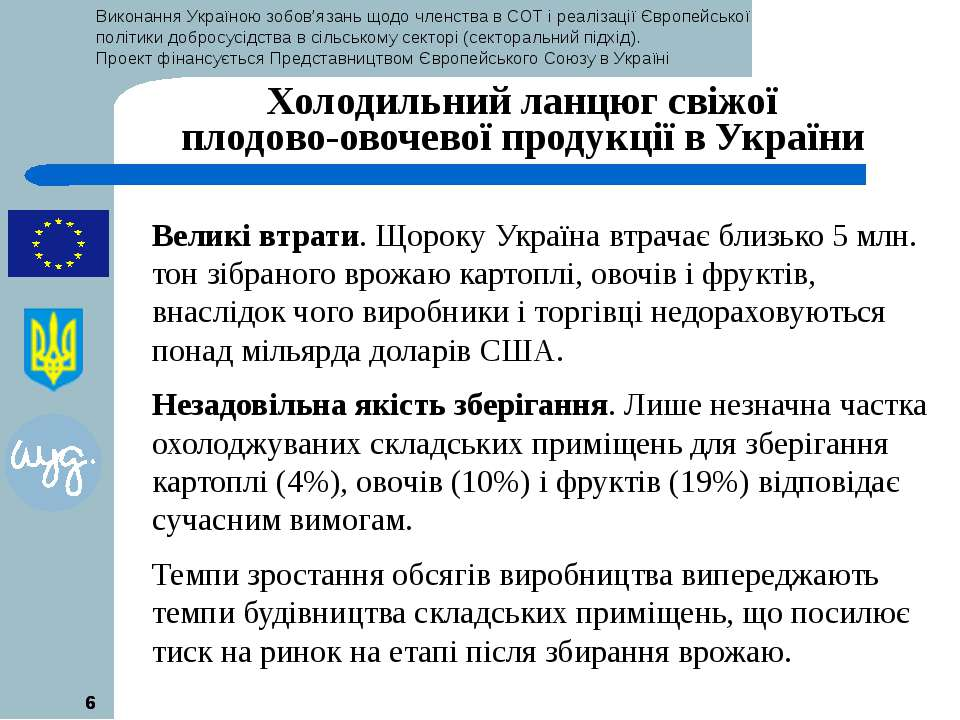 * * Холодильний ланцюг свіжої плодово-овочевої продукції в України Великі втр...