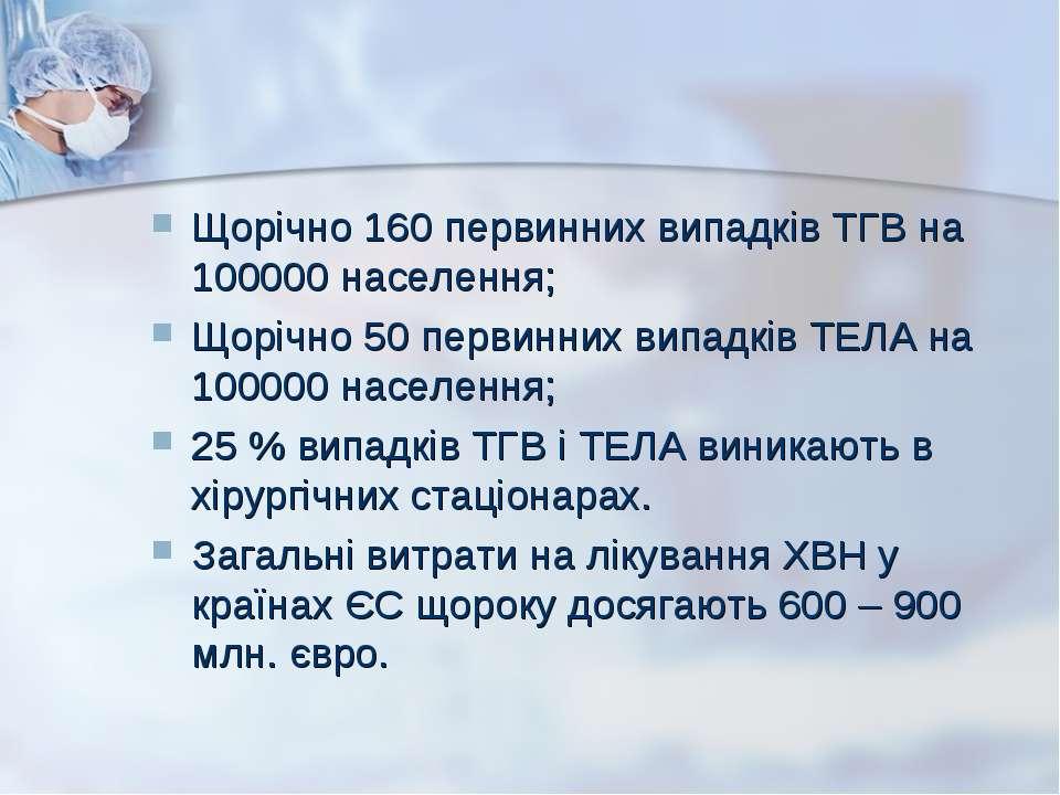 Щорічно 160 первинних випадків ТГВ на 100000 населення; Щорічно 50 первинних ...