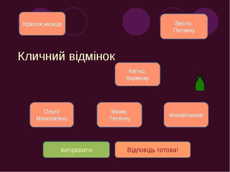 Кличний відмінок Весно, Петрику Ольго Миколаївно Квітко, барвінку Мама, Тетян...