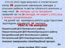 З 01.01.2012 буде вилучено зі статистичного обліку 30 дошкільних навчальних з...