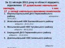 За 11 місяців 2011 року в області відкрито, відновлено 27 дошкільних навчальн...