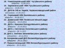 18. Новопокровський НВК Чугуївського району відкрито - 12.09.2011 19. Зарожне...