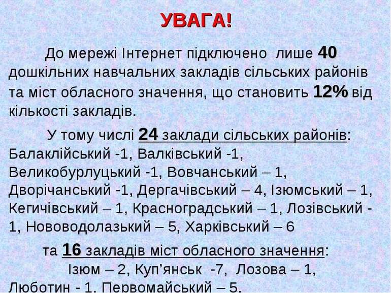 УВАГА! До мережі Інтернет підключено лише 40 дошкільних навчальних закладів с...