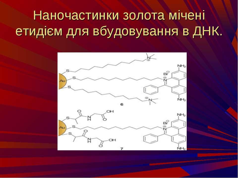 Наночастинки золота мічені етидієм для вбудовування в ДНК.
