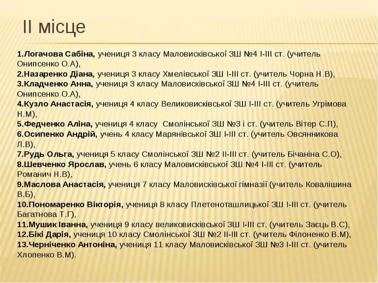 ІІ місце 1.Логачова Сабіна, учениця 3 класу Маловисківської ЗШ №4 І-ІІІ ст. (...