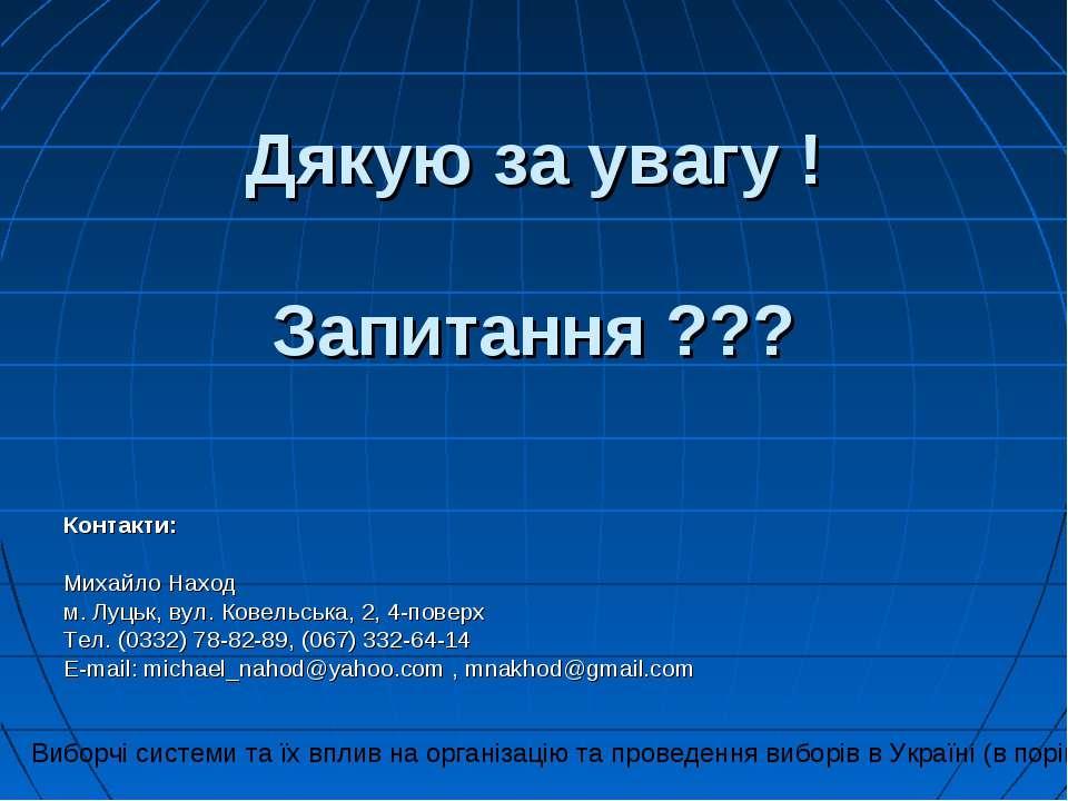 Дякую за увагу ! Запитання ??? Контакти: Михайло Наход м. Луцьк, вул. Ковельс...