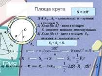 А1 А2 Ап А1А2…Ап – правильний п – кутник з площею Sn. Коло (О; R) – коло з пл...