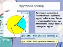 Круговим сектором називається частина круга, обмежена дугою і двома радіусами...