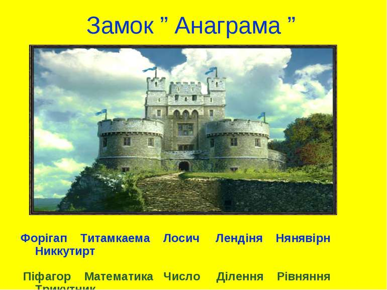 """Замок """" Анаграма """" Форігап Титамкаема Лосич Лендіня Нянявірн Никкутирт Піфаго..."""