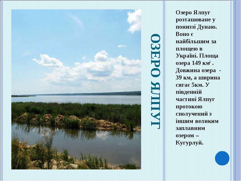 ОЗЕРО ЯЛПУГ Озеро Ялпуг розташоване у пониззі Дунаю. Воно є найбільшим за пло...