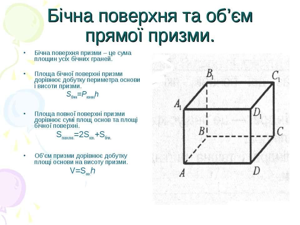Бічна поверхня та об'єм прямої призми. Бічна поверхня призми – це сума площин...