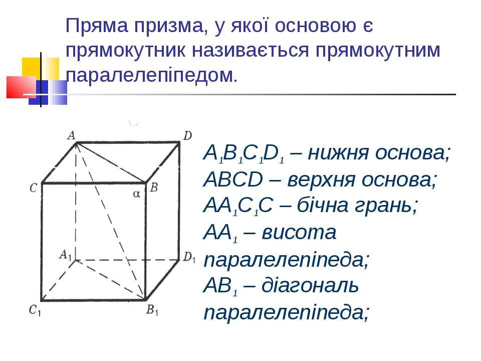 Пряма призма, у якої основою є прямокутник називається прямокутним паралелепі...