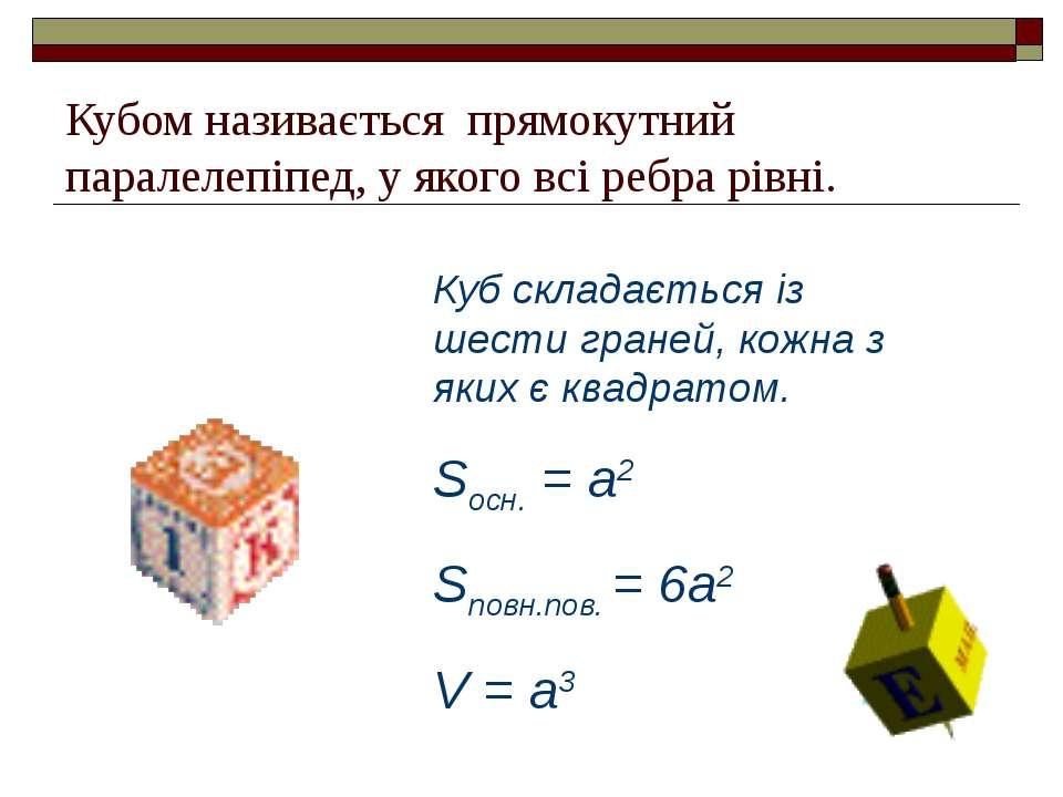 Кубом називається прямокутний паралелепіпед, у якого всі ребра рівні. Куб скл...