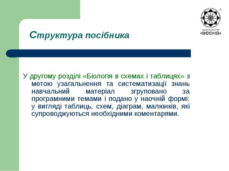 Структура посібника У другому розділі «Біологія в схемах і таблицях» з метою ...
