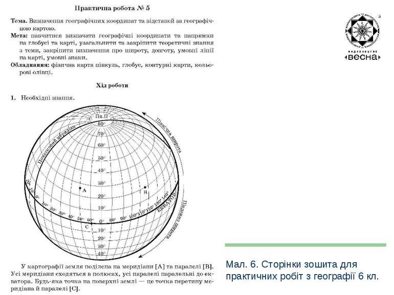 Структура посібника Мал. 6. Сторінки зошита для практичних робіт з географії ...