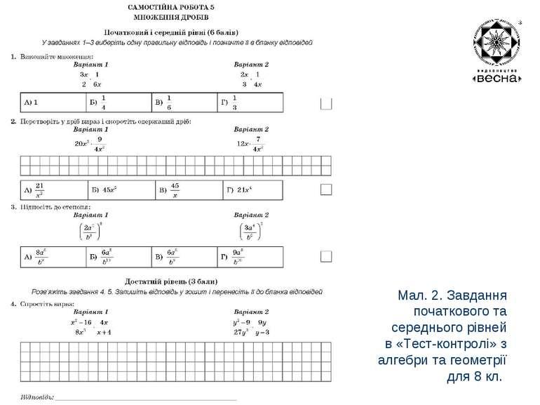 Мал. 2. Завдання початкового та середнього рівней в «Тест-контролі» з алгебри...