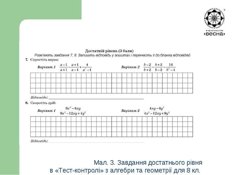 Мал. 3. Завдання достатнього рівня в «Тест-контролі» з алгебри та геометрії д...