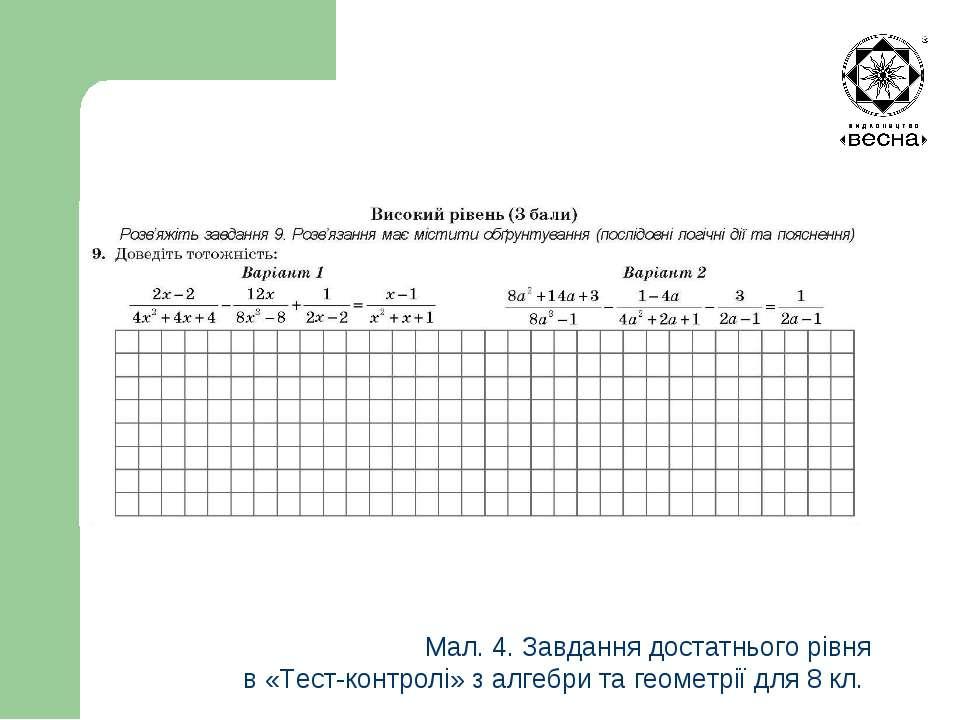 Мал. 4. Завдання достатнього рівня в «Тест-контролі» з алгебри та геометрії д...