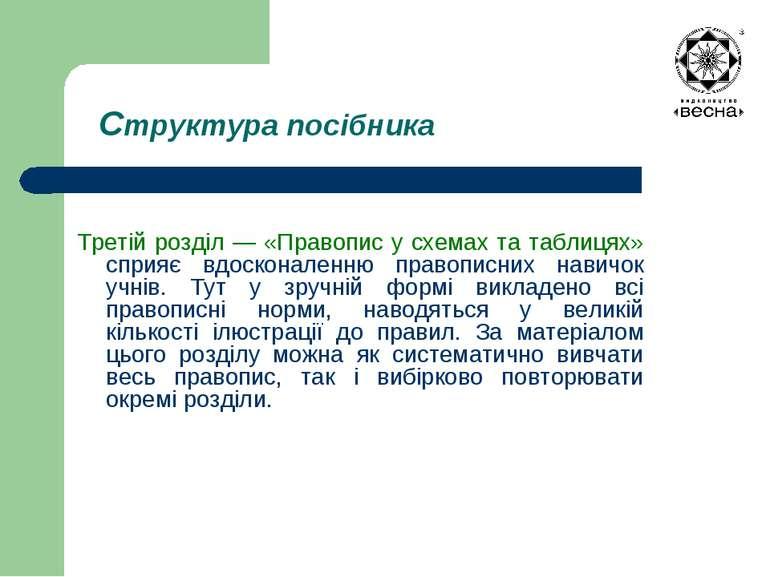 Структура посібника Третій розділ — «Правопис у схемах та таблицях» сприяє вд...